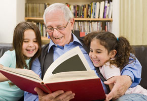 grandfather reading to his grandchildren, grandfather poems
