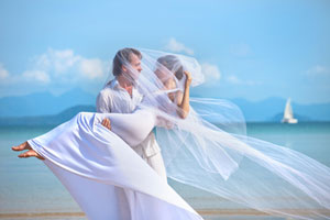 newlyweds on the beach, wedding poems